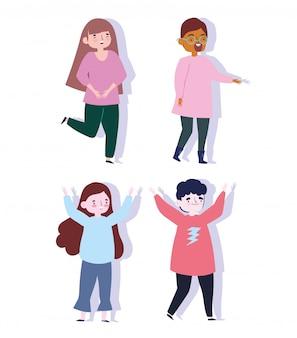 Szczęśliwy dzień młodzieży postać z kreskówki mężczyzn i kobiet świętuje imprezę
