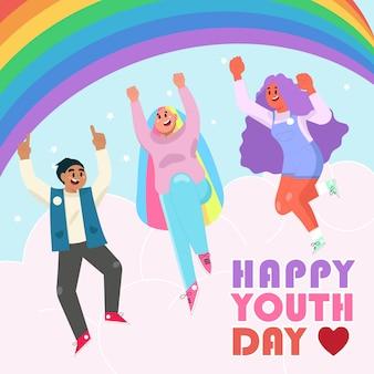 Szczęśliwy dzień młodzieży three teen cheer up projektowanie postaci