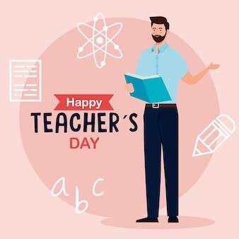 Szczęśliwy dzień nauczyciela i nauczyciel mężczyzna czytanie książki z ikonami edukacji