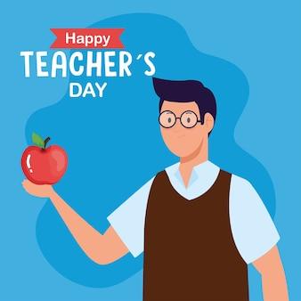 Szczęśliwy dzień nauczyciela i nauczyciel mężczyzna z jabłkiem