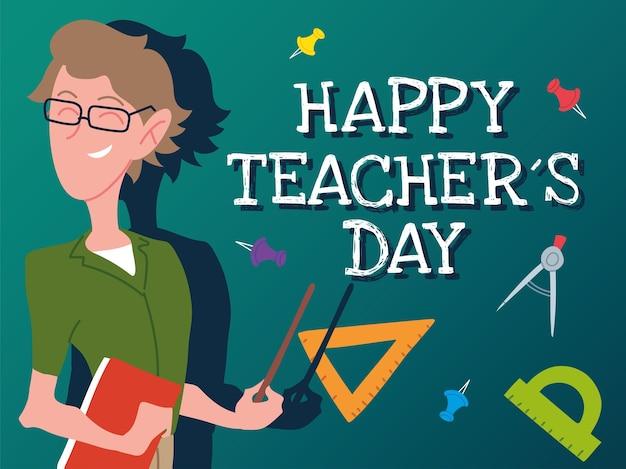 Szczęśliwy dzień nauczyciela karta z projektem człowieka