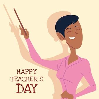 Szczęśliwy dzień nauczyciela karta z projektem kobiety