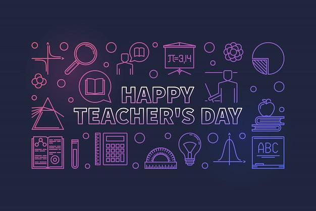Szczęśliwy dzień nauczyciela kolorowy liniowy baner.
