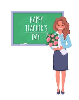 Szczęśliwy dzień nauczyciela koncepcja nauczyciela w klasie