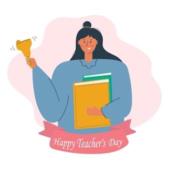 Szczęśliwy dzień nauczyciela koncepcja śliczna kobieta z dzwonkiem szkolnym i książkami w dłoniach płaska ilustracja