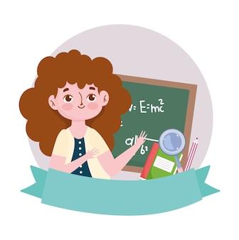 Szczęśliwy dzień nauczyciela, książka nauczyciel tablica i kreskówka lupa