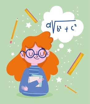 Szczęśliwy dzień nauczyciela, linijka papiery nauczyciela kreskówki i ołówki