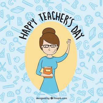Szczęśliwy dzień nauczyciela, nauczyciel ręcznie rysowany