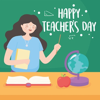 Szczęśliwy dzień nauczyciela, nauczyciel w klasie z książką z mapą tablica i jabłko