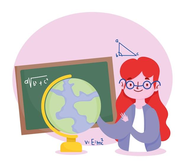 Szczęśliwy dzień nauczyciela, nauczyciel z tablicą i szkołą mapy świata