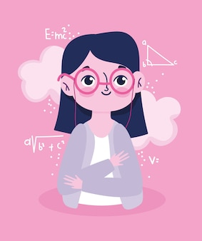 Szczęśliwy dzień nauczyciela, portret nauczyciela kreskówka lekcja matematyki formuła