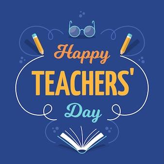 Szczęśliwy dzień nauczyciela pozdrowienie napis