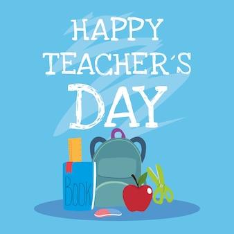 Szczęśliwy dzień nauczyciela, projekt plakatu, broszury, banera i karty z pozdrowieniami