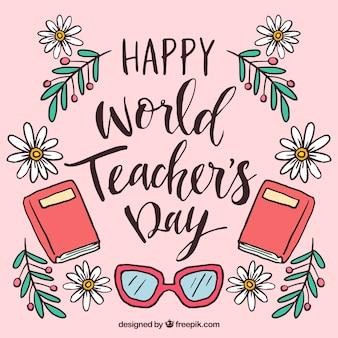 Szczęśliwy dzień nauczyciela, ręcznie rysowany