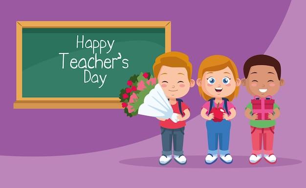 Szczęśliwy dzień nauczyciela scena z dziećmi uczniów i tablicą.
