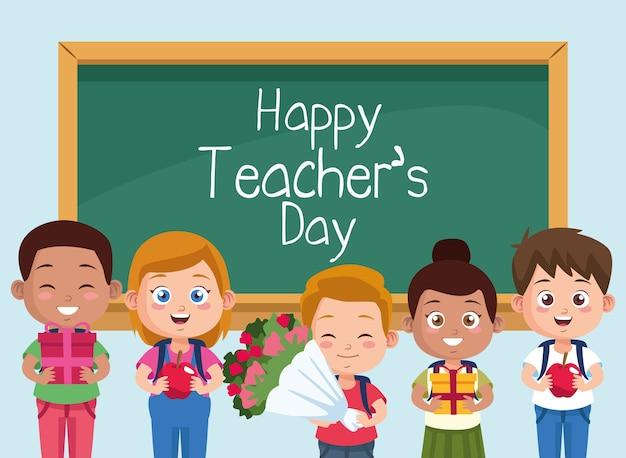 Szczęśliwy dzień nauczyciela scena z dziećmi uczniów w klasie.