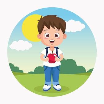 Szczęśliwy dzień nauczyciela scena z małym chłopcem i jabłkiem.