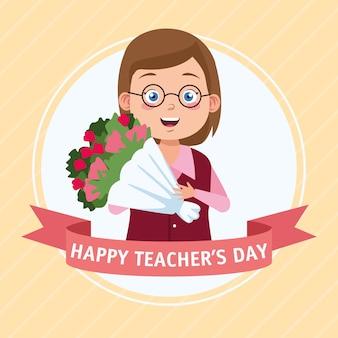 Szczęśliwy dzień nauczyciela scena z nauczycielem i bukietem kwiatów.