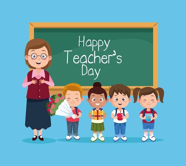 Szczęśliwy dzień nauczyciela scena z nauczycielem i dziećmi.