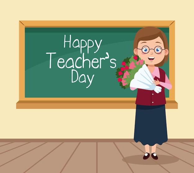 Szczęśliwy dzień nauczyciela scena z nauczycielem i kwiatami w klasie.