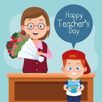 Szczęśliwy dzień nauczyciela scena z nauczycielem i uczniem podnoszącym kwiaty.