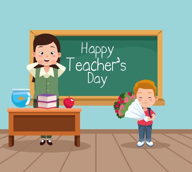 Szczęśliwy dzień nauczyciela scena z nauczycielem i uczniem.