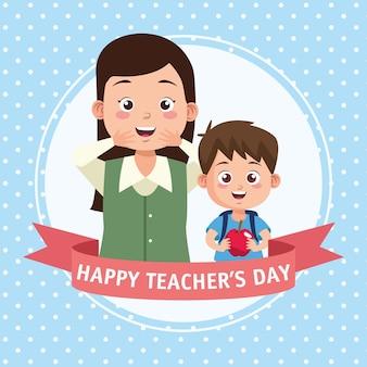 Szczęśliwy dzień nauczyciela scena z ramą nauczyciela i ucznia.