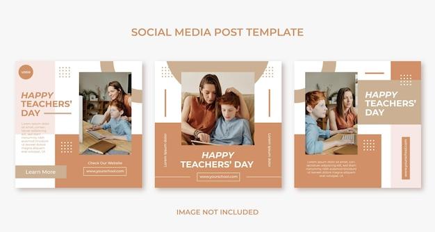 Szczęśliwy dzień nauczyciela szablon postu w mediach społecznościowych