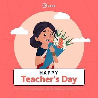 Szczęśliwy Dzień Nauczyciela Szablon Projektu Banera W Stylu Kreskówki Premium Wektorów