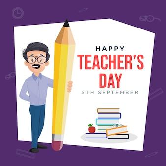 Szczęśliwy dzień nauczyciela szablon projektu banera w stylu kreskówki