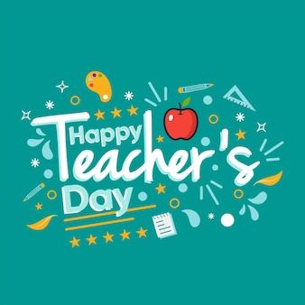 Szczęśliwy dzień nauczyciela tematu. wektor premium.