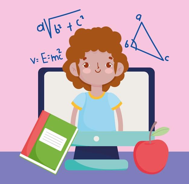 Szczęśliwy dzień nauczyciela, uczeń chłopiec w jabłku komputera wideo i książki