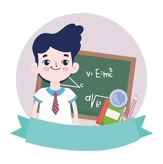 Szczęśliwy dzień nauczyciela, uczeń tablica chłopiec i kreskówka lupa