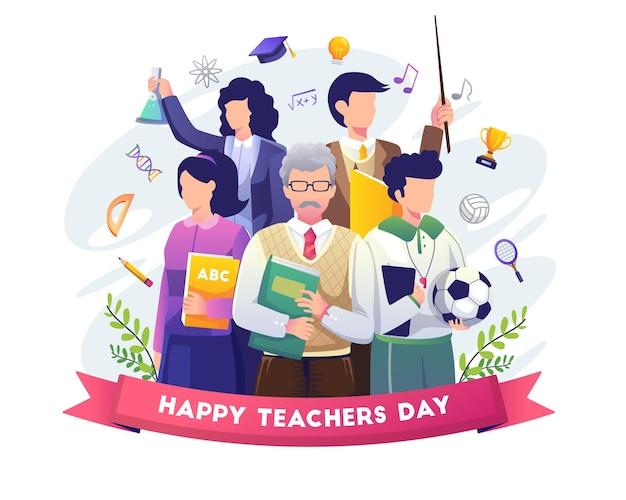 Szczęśliwy dzień nauczyciela z grupą nauczycieli z różnych dziedzin zbiera ilustrację
