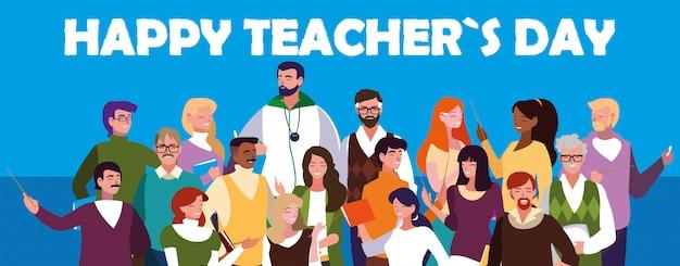 Szczęśliwy dzień nauczyciela z grupą nauczycieli