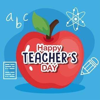 Szczęśliwy dzień nauczyciela, z ikonami jabłka i edukacji