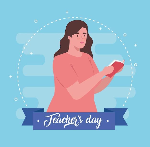 Szczęśliwy dzień nauczyciela, z książką nauczyciela kobieta