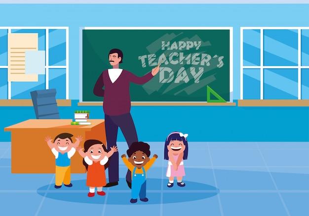 Szczęśliwy dzień nauczyciela z nauczycielem i uczniami w klasie