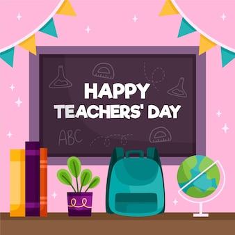 Szczęśliwy dzień nauczyciela z tablicą i plecakiem