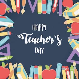 Szczęśliwy dzień nauczycieli, kolorowe kredki ołówki książki jabłka długopis