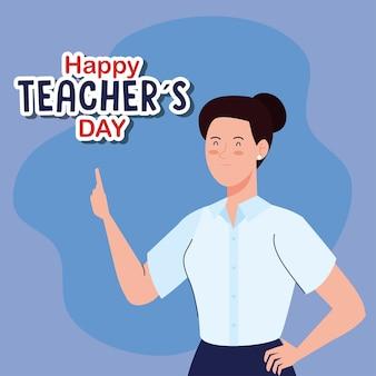Szczęśliwy dzień nauczycieli świata i młoda kobieta nauczyciel