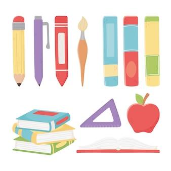 Szczęśliwy dzień nauczycieli, szkolne jabłko książki władca ołówek długopis pędzel kredka
