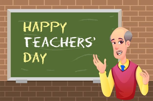 Szczęśliwy dzień nauczycieli z nauczycielem i tablicą
