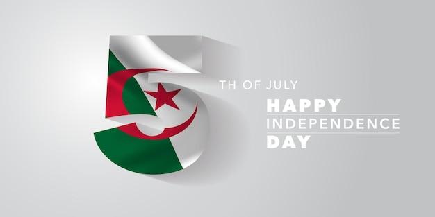 Szczęśliwy dzień niepodległości algierii. algierski święto narodowe 5 lipca tło z elementami flagi