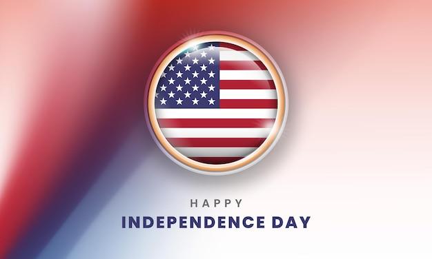 Szczęśliwy dzień niepodległości ameryki transparent z amerykańską flagą 3d koło