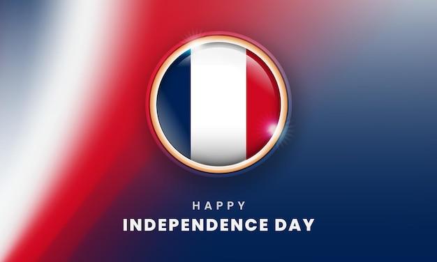Szczęśliwy dzień niepodległości francji sztandar z francuskim okręgiem flagi 3d
