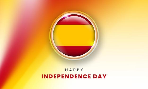 Szczęśliwy dzień niepodległości hiszpanii sztandar z hiszpańską flagą 3d koło