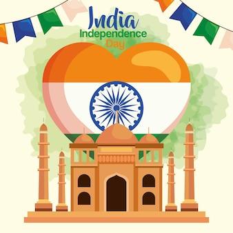 Szczęśliwy dzień niepodległości indii taj mahal