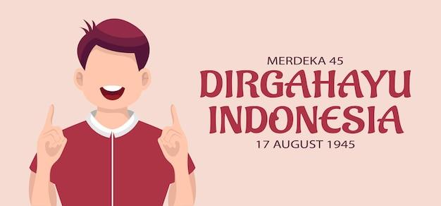 Szczęśliwy dzień niepodległości indonezji kartkę z życzeniami. ilustracja wektorowa