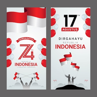 Szczęśliwy dzień niepodległości indonezji kartkę z życzeniami
